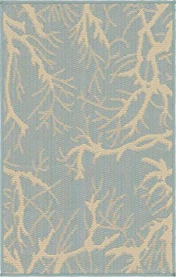 Unique Loom Outdoor Botanical Collection Abstract Pictorial Transitional Indoor and Outdoor Flatweave Light Blue Area Rug (2' 0 x 3' 0)