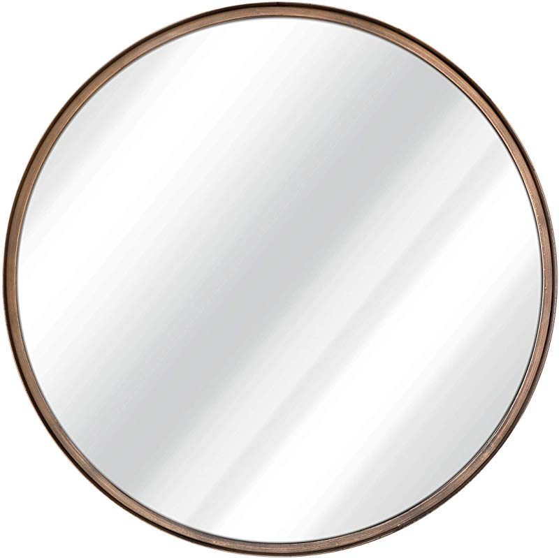 27 5 Large Round Mirror Beautiful Brushed Golden Bronze Wall Mirror Handcrafted Oil Rubbed Circle Mirror Metal Framed Decorative Mirrors For Wall Hanging Mirror Large Circular Wall Mirror