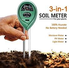 Attom Tech Soil Test Meter, 3-in-1 Moisture/Sun-light/pH Sensor Meter Soil Test Kits Gardening Tool, Test function for Home and Garden, Plants, Farm, Indoor/Outdoor Use