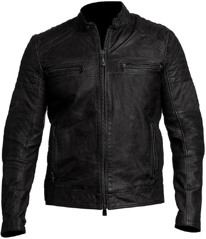 Vintage Cafe Racer Black Biker Leather Jacket