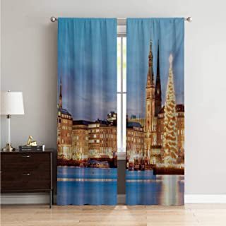 Mozenou Creative Blackout Window Drapes Curtain Panels Winter,Hamburg Germany Old Town Hall with Christmas Tree Historical Architecture,Blue Orange Brown W108 x L84 Inch