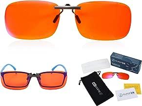 Clip On 99.9% Blue Light Blocking Glasses for Women or Men - Anti Blue Light Blocking Computer Glasses and Gaming Glasses Clip On Your Prescription or Reading Glasses - Sleep Better - Stop Eye Strain