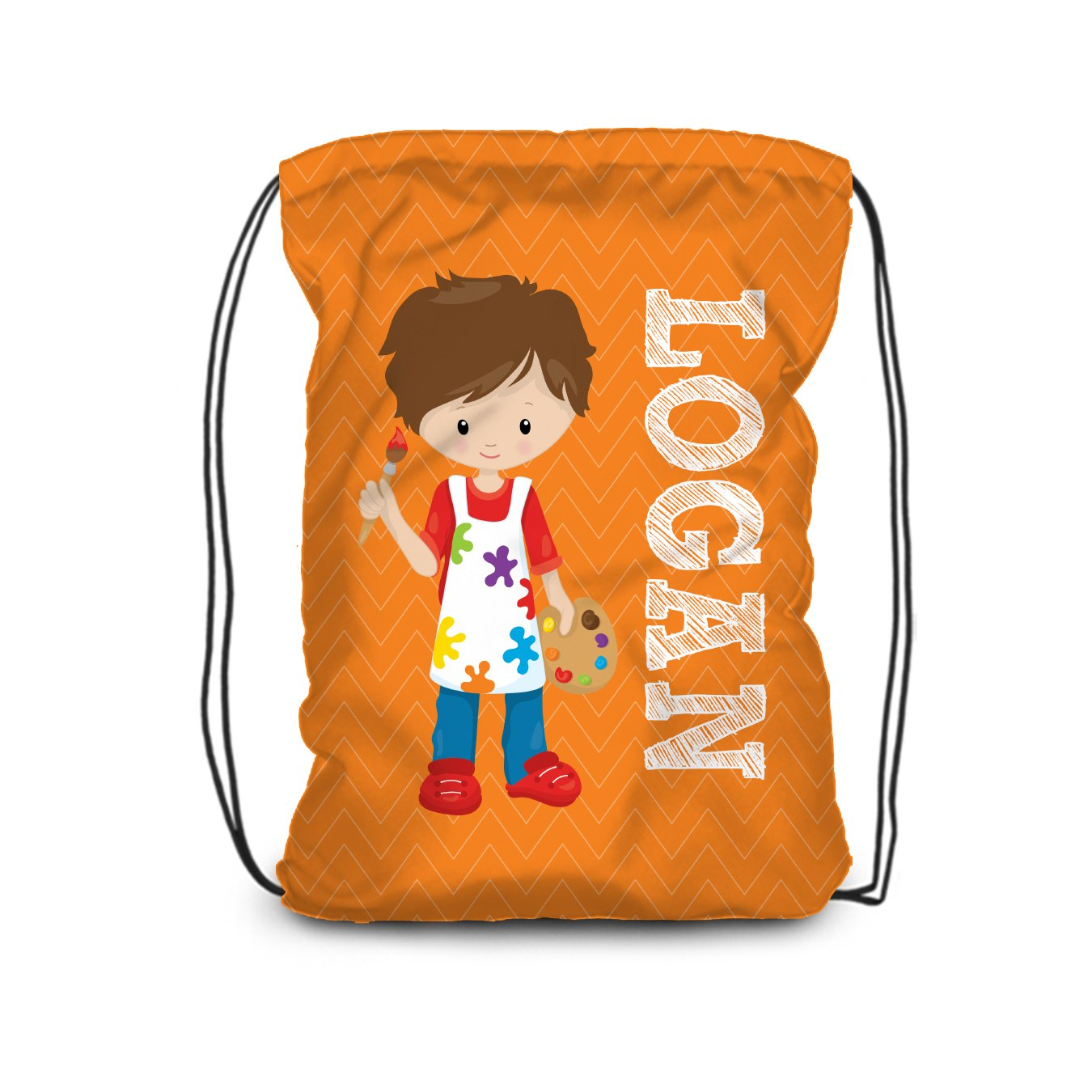 Art Drawstring Backpack - Cheap bargain Orange Artist Name Boy Memphis Mall Ba Personalized
