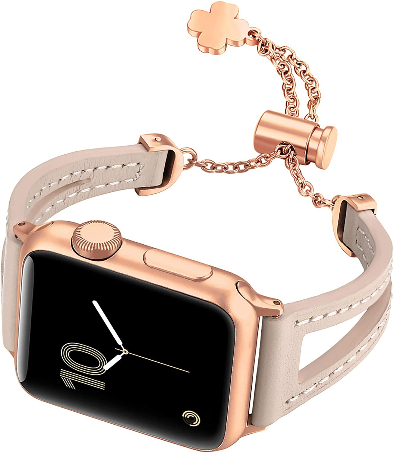 fastgo Leather Bracelet Compatible with Apple Watch Bands 38mm 40mm 42mm 44mm, Thin Cute Dressy Replacement Strap Women Girls for Iwatch Series SE & 6/5/4/3/2/1, Black, White, Pink, Grey