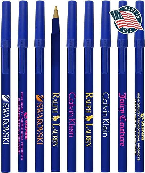 100 包美国制造的个性化书写墨水美国棍子笔彩色帽口袋夹圆珠笔定制印有您的徽标文字宣传您的品牌蓝色桶蓝色镶边