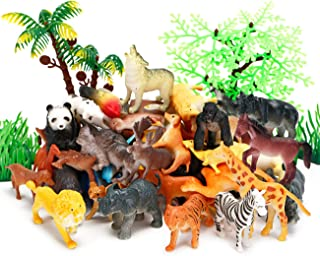 Kimicare Jungle Animals Figures, 52 Pcs Mini Realistic Safari Wild Zoo Plastic Animals Learning Educational Toy Set for Kids Toddlers Forest Farm Animals Playset Cupcake Topper Party Favors Toys