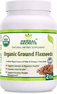 Herbal Secrets USDA Certified Organic Ground Flaxseed 2 Lbs (Non-GMO) - Excellent Vegan Source of Fiber & Omega -3 Fatty Acids - Promotes Joint Health,Supports Healthy Weight Management