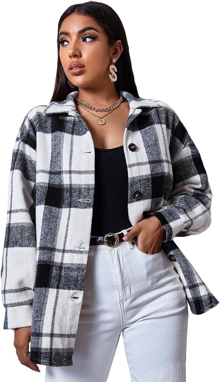 Milumia Women Casual Plaid Ranking TOP1 Drop Coa Shoulder Topics on TV Long Sleeve Jackets