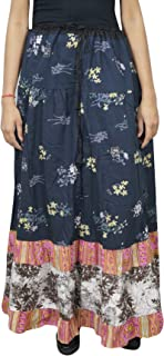Mogul Interior Women's Blue Maxi Skirt Floral Printed Flare Cotton A-line Gypsy Boho Hippie Long Skirt L