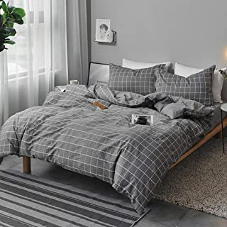 NANKO Twin Bedding Duvet Cover Set Grid, 2 Piece - 1000 - TC Luxury Microfiber Down Comforter Plaid Quilt Cover with Zipper Closure, Ties - Best Modern Style for Men and Women - Gray