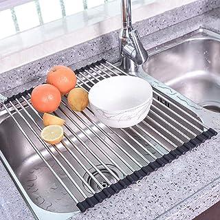 escurridor de platos FTYYSWL Escurridor de platos plegable de acero inoxidable multiusos para fregadero color negro color negro 34 x 33 cm escurreplatos enrollable 32 x 33 cm