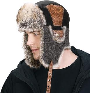Hombres del Faux Fur Trapper Gorro de Caza con máscara con Orejeras Ruso Ushanka