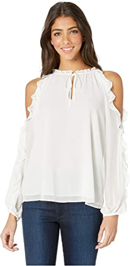 Ruffle Sleeve Cold Shoulder Tie Neck Blouse