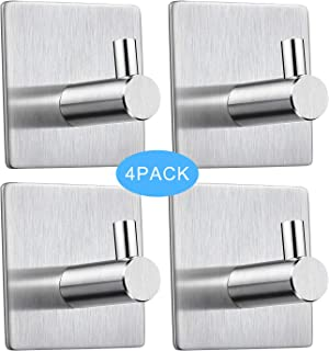 Adhesive Hooks Heavy Duty Wall Hooks Self Adhesive Hooks Waterproof Stainless Steel Towel Hooks Stick on Wall Door Cabinet for Hanging Coat, Robes, Bags,Bathroom Kitchen and Bedroom-4 Packs