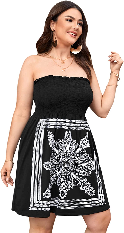 Romwe Women's Plus Size Floral Off The Shoudler Sleeveless Shirred Tube Mini Dress