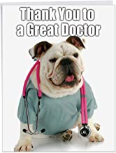 Cute American Bulldog Greeting Card for Doctors 8.5 x 11 Inch - Large 'Thank You to a Great Doctor' Medical Dog - Health Care Puppy, Personalized Thanks - Hospital Worker, Nurse w/ Envelope J9115