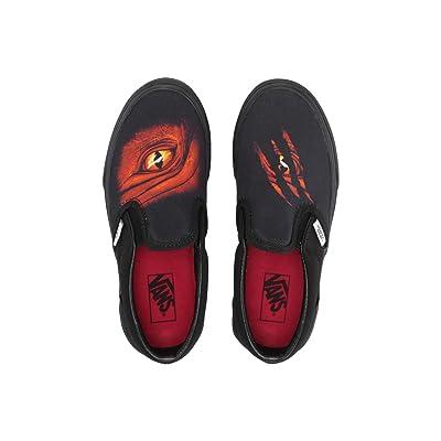 Vans Kids Classic Slip-On (Little Kid/Big Kid) ((Dragon Flame) Black/Black) Boys Shoes