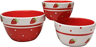 Grace Teaware Hand Painted Glazed Ceramic Stoneware 3-Piece Pantry Size Nested Bowl Set. 3-Sizes 10, 22 and 32-Ounce (Strawberries)