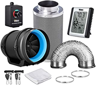 iPower GLFANXEXPSET8D25CHUMD 8 Inch 550 CFM Inline Carbon Filter 25 Feet Ducting with Fan Speed Controller and Temperature...