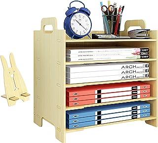 Marbrasse 5 Trays Wooden Desk File Organizer, Document Mail Paper Organizer Sorter Letter Tray Storage Shelf Sorter for Of...