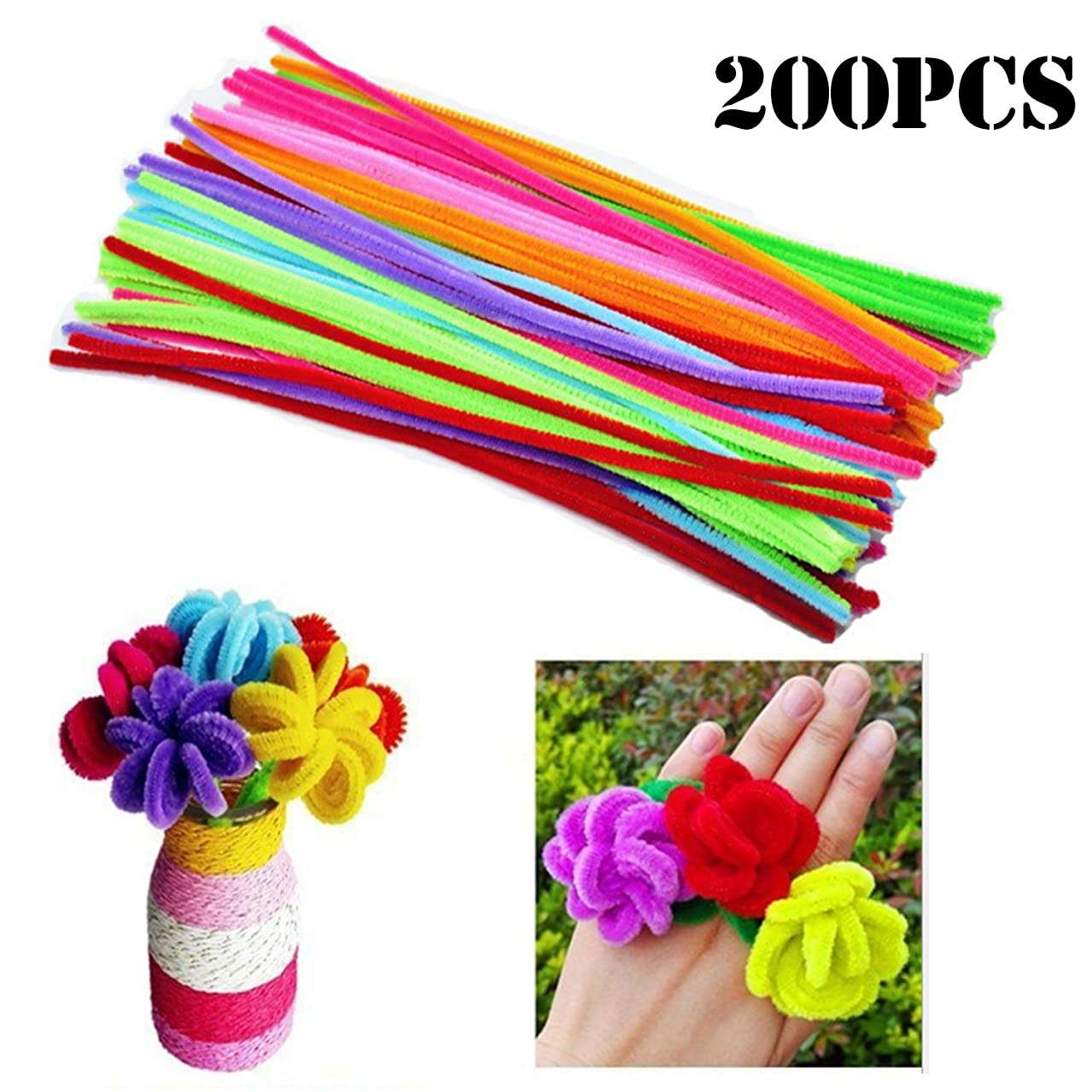 MANSHU 200 Pieces Pipe Cleaners 6 mm x 12 Inch for DIY Art Craft, 10 colors Mixed Pack