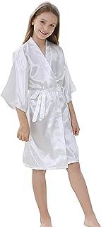 Kids Girls Robes Silky Satin Knee-length Kimono Robe for Birthday Spa Bridal Party Flower Girl Robe (White, 8)