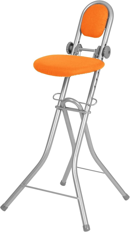 Ribelli Silla Multiusos Altura Ajustable Asiento Plegable para Planchar y Cocinar C, Naranja, ca. 47 x 89 x 56,5 cm