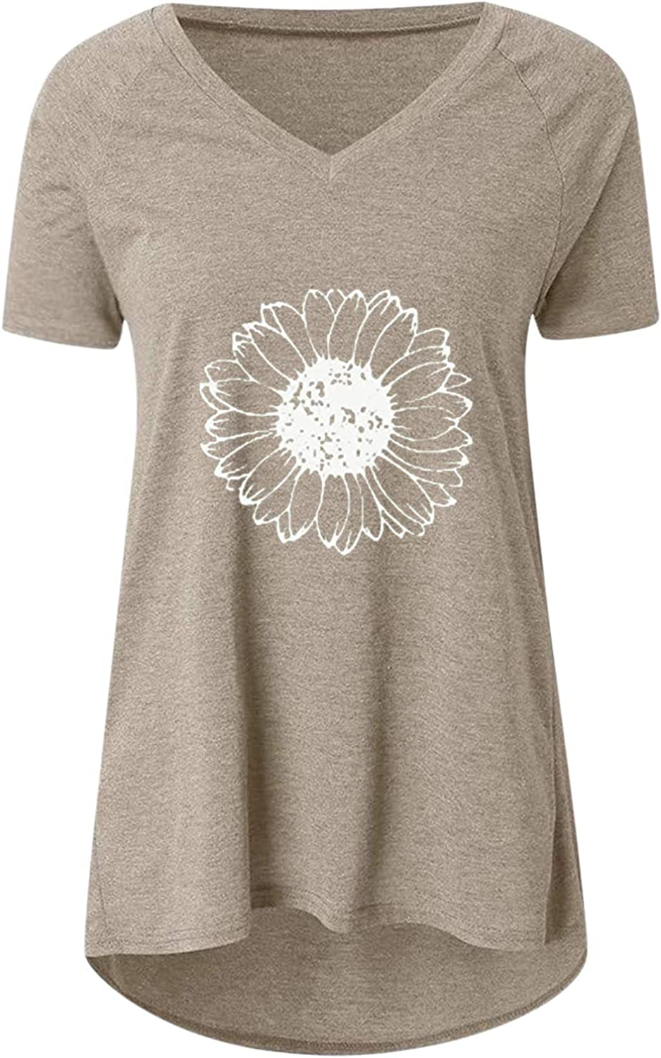 Aukbays T-Shirts for Women Chrysanthemum Print Short Sleeve Tops Summer V Neck Loose Fit Causal Tees Shirts Blouses