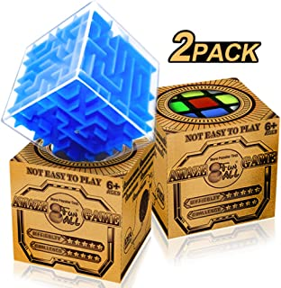 Brain Teaser Puzzles Value Pack - Mini Magic Speed & Maze Cube 2 Pack - Great 3D Puzzles Gifts for Kids Adults