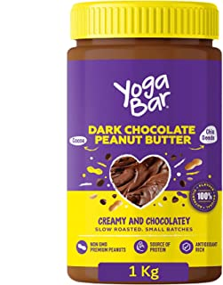 Yogabar Dark Chocolate Peanut Butter| Creamy & Chocolatey | Slow Roasted | Non-GMO Premium Peanuts | 1kg