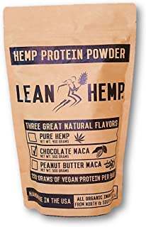 LeanHemp Chocolate Hemp Protein Powder with Maca – Organic, Vegan, Hi-Fiber – 50% Protein 20 Grams Per Serving