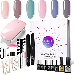 Modelones Gel Nail Starter Kit, with 6 Color Gel in Tiny Bottles 7ml, Base and Top Coat Set 10ml each, 6W Mini Nail Lamp and Manicure Tools Set