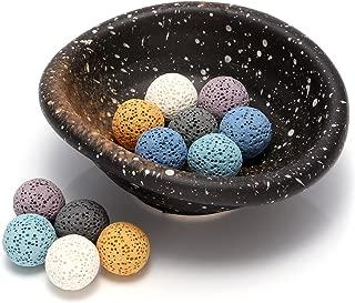 Top Plaza Lava Rock Gemstone Aromatherapy Essential Oil Diffuser Set - Oval Shape Ceramic Incense Burner/Ware/Holder/Bowl With 12Pcs Lava Stone Balls
