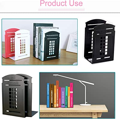 MerryNine Bookends, 2 Pair Heavy Metal Non Skid Sturdy Telephone Booth Decorative Gift for Bookshelf Office School Library (London-Red/Black )