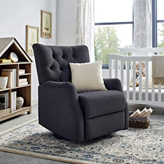 Classic Brands Cynthia Popstitch Upholstered Glider Swivel Rocker Chair, Charcoal