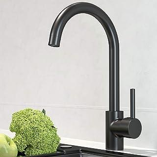 EUPYTE schwarz Küchenarmatur Spültischarmatur mit 360° drehbar, Einhebelmischer Spültisch Armatur Wasserhahn Küche aus Edelstahl für Spülbecken Mischbatterie