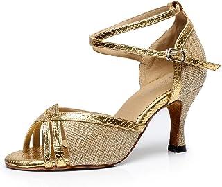 Chaussures femme JSHOE Femmes Peep Toe Talon Bas Glitter Salsa Tango Ballroom Latin Cheville Strap Danse Sandales,Gold-heeled7.5cm-UK6/EU39/Our40 Chaussures et Sacs