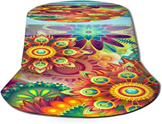 Fisherman Hat Psyche Flower Bucket Hat Unisex 3D Printed Packable Bonnie Cap UV Protect Lightweight Sun Hat for Picnic Hunting Fishing Golf Hiking