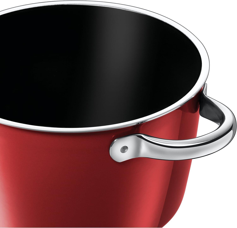 Silit Vitaliano Rosso Batterie de cuisine 4 pièces avec couvercle en verre, céramique fonctionnelle Silargan, bord verseur, compatible induction rouge foncé Rouge Foncé