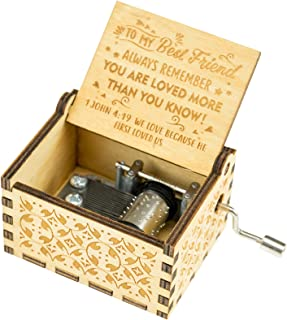 Classic Wood Hand Cranked Music Box Decoration for a Best Friend | Song: You are My Sunshine