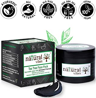 Natural Vibes ~ Ayurvedic Tea Tree and Activated Charcoal Face Pack 50g ~ Reduces acne/blemishes, cleanses clogged pores and purifies skin