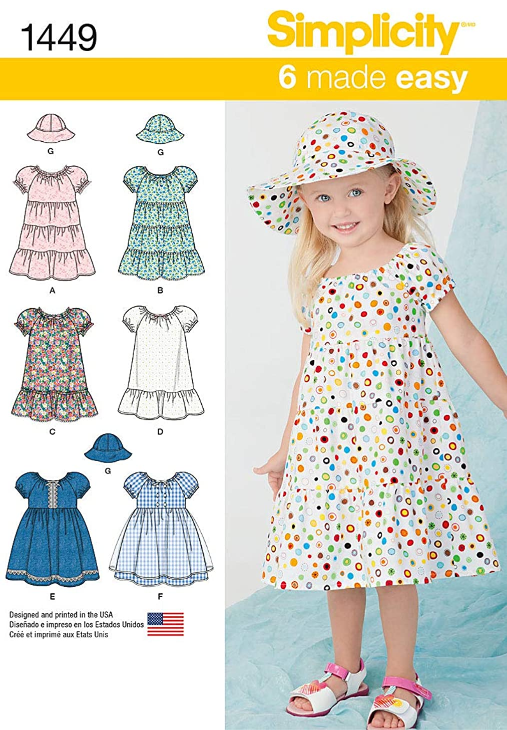 Simplicity 1449 Easy to Sew Toddler Girl's Dress and Hat Sewing Patterns, Sizes 2-4