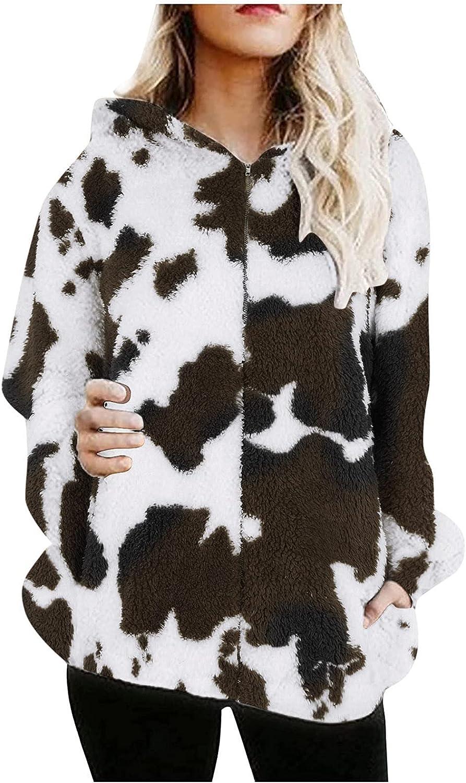 Women Winter Fleece Zipper Coat Milk Print Long Sleeve Faux Shearling Shaggy Outwear Oversize Jacket Tops