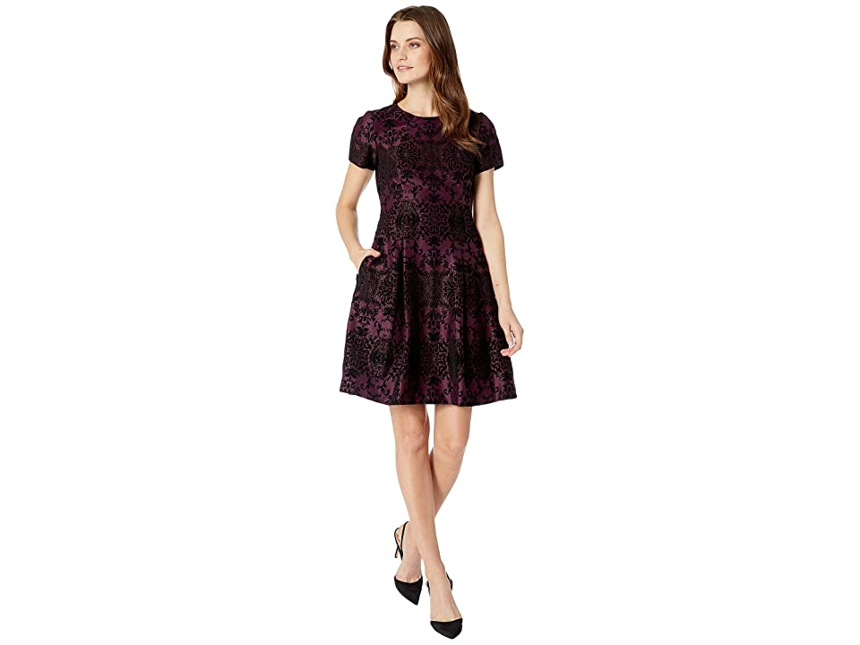 Vince Camuto Flocked Novelty Fit and Flare Dress with Short Sleeves (Purple) Women
