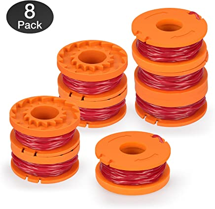 / Eyolotyi Replacement Trimmer Spool Line for Worx WA0010 WG180 WG163 Weed Wacker Spool with WA6531 GT Spool Cover 50006531 String Trimmer Refills 10ft 0.065 10 Pack 8 Spools, 2 Trimmer Cap
