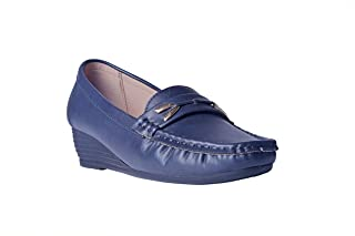 MSC Synthetic Leather Navy Loafers & Mocassins for Women