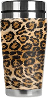 Mugzie Spotted Leopard Travel Mug with Insulated Wetsuit Cover, 16 oz, Black