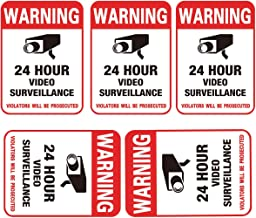 """5-Pack Video Surveillance Sign Sticker, Decal Self Adhesive Vinyl Security Sign Stickers on Wall, About 4 X 6""""- Warning 24 Hour Video Surveillance"""