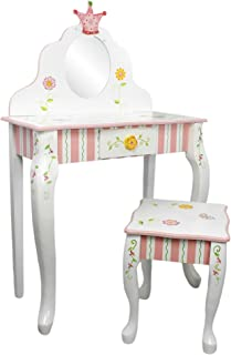 Fantasy Fields - Princess & Frog Thematic Kids Vanity Table and Stool Set with Mirror   Imagination Inspiring Hand Crafted & Hand Painted Details   Non-Toxic, Lead Free Water-based Paint