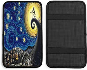QICENIT Nightmare Before Christmas Starry Night Auto Center Console Pad Universal Soft Comfort Car Armrest Seat Box Cover Protector for Most Vehicle SUV Truck Sedan Decor Accessories
